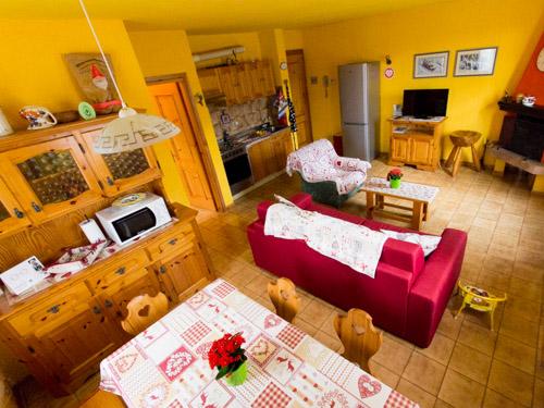 soggiorno e cucina appartamento gnomo mirtillo